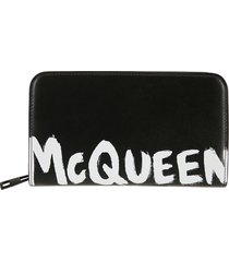 alexander mcqueen logo print zip-around wallet