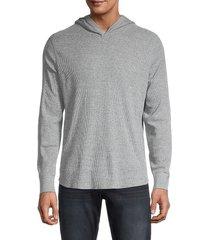 vince men's waffle-knit hoodie - light grey - size xs