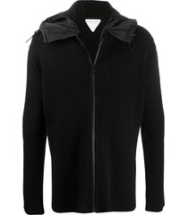 bottega veneta ribbed zip-up hoodie - black