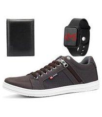 kit sapatênis casual sapatofran café com relógio e carteira