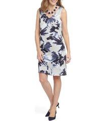 women's nic+zoe inky flowers sleeveless shift dress, size large - blue