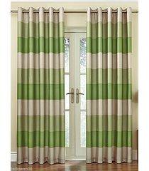 brasilien grün-beige gestreift kunstseide ausgekleidet top ringe 168cmx183cm