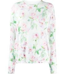 laneus distressed-hem rose-print sweater - white