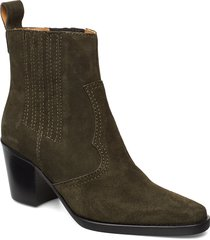 western ankle boots shoes boots ankle boots ankle boots with heel grön ganni