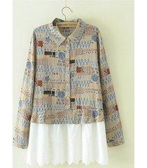 camicette a maniche lunghe in patchwork con risvolto casual