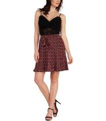 black tape pleated floral-print skirt