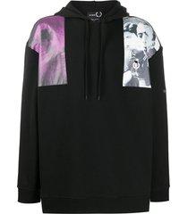 raf simons x fred perry photo shoulder print hoodie - black