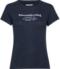 cozy logo tee t-shirts & tops short-sleeved blå abercrombie & fitch
