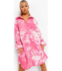 tall corduroy tie dye blouse jurk, pink