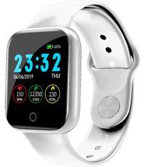 bakeey i5 continuo corazón rate o2 monitor cara del reloj recordatorio de identificación de llamadas de whatsapp reloj inteligente de cuerpo completo - blanco