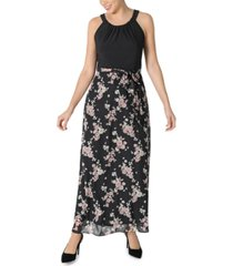 robbie bee petite chiffon two-tone maxi dress