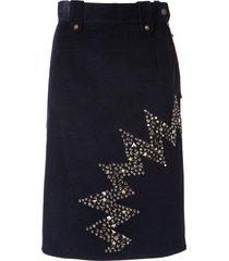 kolor stud-embellished corduroy skirt - blue