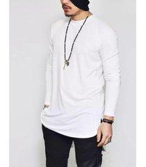 camiseta manga longa longline lisa di nuevo masculina - masculino