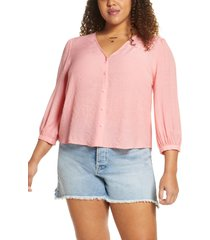 plus size women's bp. textured blouson sleeve top, size 3x - pink