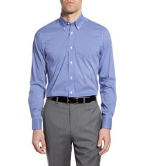men's big & tall psycho bunny slim fit stretch non-iron check dress shirt, size 18 - 34/35 - blue