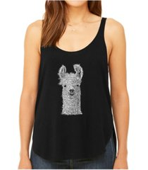la pop art women's premium word art flowy tank top- llama