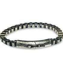 gunmetal-tone sterling silver box chain bracelet