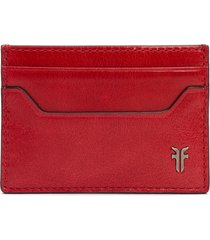 women's frye austin leather card case - red
