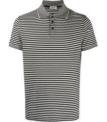saint laurent horizontal-stripe short-sleeve polo shirt - black