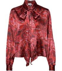 silk stretch satin blouse lange mouwen rood ganni