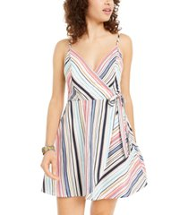 speechless juniors' striped surplice wrap dress