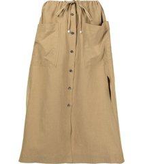 altuzarra tandy button-front skirt - brown