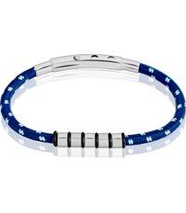 bracciale blu, azzurro e bianco in corda e acciaio per uomo