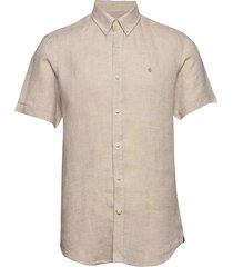 douglas ss linen shirt overhemd met korte mouwen beige morris
