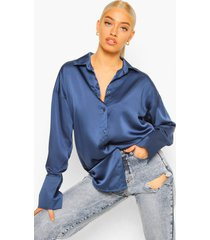 oversized satijnen blouse met mouwdetail, midnight