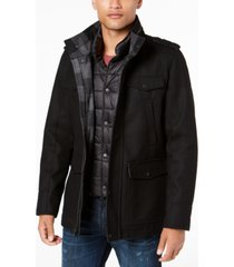 guess men's military-inspired coat with plaid detail