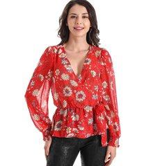 blusa cruzada flores rojo nicopoly