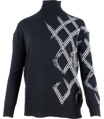 ermanno scervino turtleneck sweater in cashmere blend with applied crystals