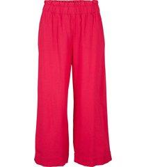 pantaloni culotte cropped in misto lino (rosso) - bpc bonprix collection