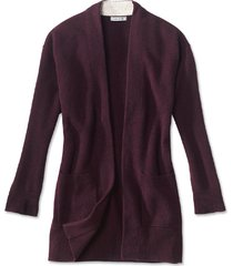 cashmere open front cardigan sweater, wine, x large