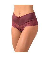 calcinha calesson vip lingerie em microfibra com renda bordô