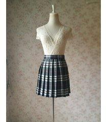girl black and white plaid skirt school pleated plaid skirts plus size wt32