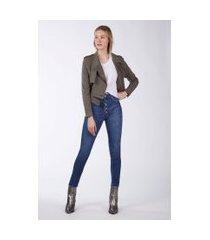 calça basic high flare jeans medio - 34