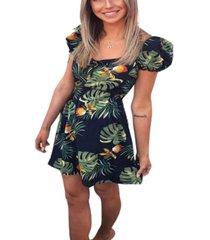 ax paris women's leaf print skater dress with sweetheart neckline