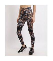calça legging esportiva ace estampada com recorte cintura média multicor