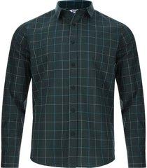 camisa lineas formando cuadros color verde, talla xs