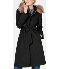 1 madison expedition belted fox-fur-trim walker coat