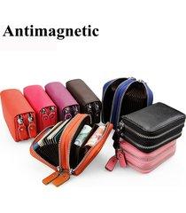 unisex portacarte portafoglio in pelle vera con rfid antimagnetico chiusura con zip