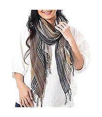 hand woven cotton scarf, 'bangkok stripe in brown' (thailand)