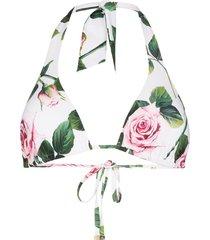 dolce & gabbana rose print triangle bikini top - green