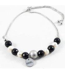 pulsera gris diesel perlas naturales y onix ajustable