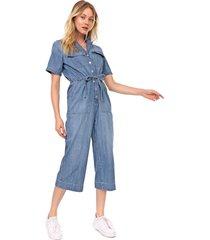 macacã£o jeans gap pantacourt utilitã¡rio azul - azul - feminino - algodã£o - dafiti