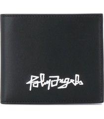 palm angels logo embroidered wallet - black