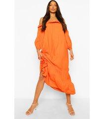 tall maxi jurk met ballonmouwen en uitgesneden hals, orange