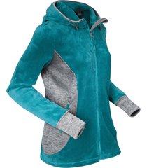 giacca in pile effetto peluche con cappuccio (blu) - bpc bonprix collection