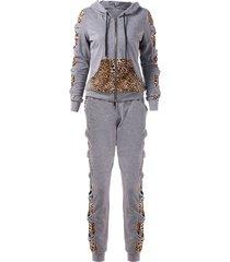 leopard print zip up hoodie with pants sweat suits